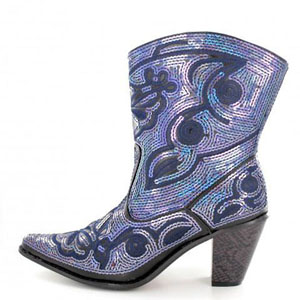 Helens Heart Womens LB-0290-11 Black/Blue Sequin Boots Casual Shoes