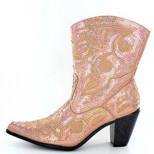 Helens Heart Womens LB-0290-11 Gold Sequin Boots Casual Shoes