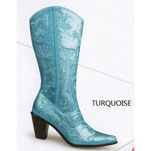 Helens Heart Womens LB-0290-12 Turquoise Sequin Boots Casual Shoes