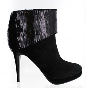Helens Heart Womens LB-9198-11C Black Sequin Boots Prom and Evening Shoes
