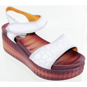 Helens Heart Womens cfw-l14 White Leather Sandals Casual Shoes