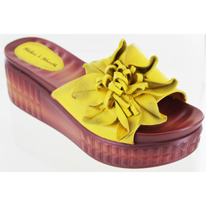 Helens Heart Womens cfw-l16 Yellow Leather Slide Casual Shoes