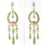 Jewelry by HH Womens JE-X001913 gold/clear Beaded   Earrings Jewelry