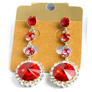 Jewelry by HH Womens JE-X001831 red Beaded   Earrings Jewelry