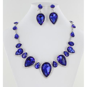Jewelry by HH Womens NS-KM001 Sapphire Beaded   Necklaces Jewelry