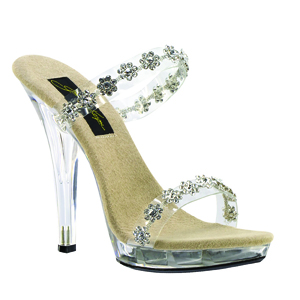 Johnathan Kayne Womens Fiore Vinyl Beaded Platforms Pageant Shoes