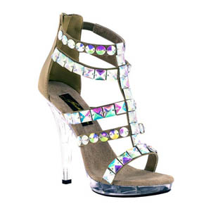 Johnathan Kayne Womens Carmine Taupe Beaded Platforms Prom and Evening Shoes