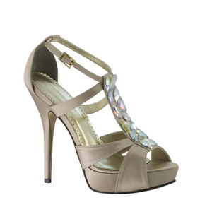 Johnathan Kayne Womens Antarctica Champagne Silk Satin Platforms Prom and Evening Shoes