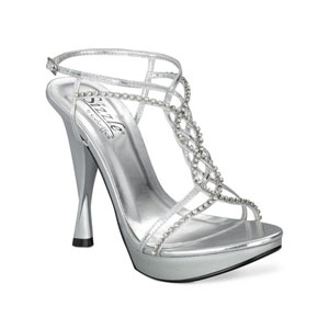 Sizzle Womens San Juan Silver Metalllic Platforms Prom and Evening Shoes