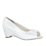 Touch Ups Girls Kayla White Satin Wedge Flower Girls Shoes