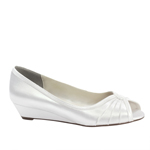 Touch Ups Womens Honey White Satin Wedge Wedding Shoes