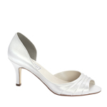 Touch Ups Womens Nadia White Satin Peep/Open Toe Wedding Shoes