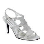Touch Ups Womens Aphrodite Silver Glitter Sandals Prom and Evening Shoes