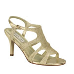 Touch Ups Womens Aphrodite Gold Glitter Sandals Prom and Evening Shoes