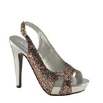 Touch Ups Womens Cinnamon Multi-Color Glitter Platforms Prom and Evening Shoes