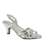 Touch Ups Womens Donetta Silver Satin Sandals Wedding Shoes