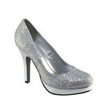 Touch Ups Womens Candice Silver Glitter Pumps Prom and Evening Shoes