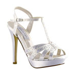Touch Ups Womens Andie White Satin Platforms Prom and Evening Shoes