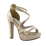 Touch Ups Womens Breeze Champagne Metalllic Platforms Prom and Evening Shoes
