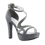Touch Ups Womens Breeze Pewter Metalllic Platforms Prom and Evening Shoes