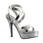 Touch Ups Womens Andrea Silver Metalllic Platforms Prom and Evening Shoes