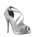 Touch Ups Womens Dana Silver Metalllic Platforms Prom and Evening Shoes