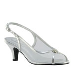 Touch Ups Womens Elite Silver Metalllic Sling Back Prom and Evening Shoes
