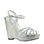 Touch Ups Womens Jaden Silver Glitter Sandals Prom and Evening Shoes