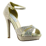 Touch Ups Womens Shelby Champagne Synthetic Platforms Prom and Evening Shoes