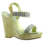 Touch Ups Womens Brynn Gold Synthetic Sandals Prom and Evening Shoes