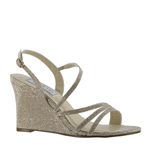 Touch Ups Womens Paige Champagne Synthetic Sandals Prom and Evening Shoes