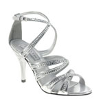 Touch Ups Womens Mitzi Silver Synthetic Sandals Prom and Evening Shoes