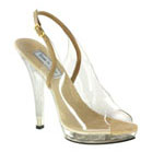 Touch Ups Womens May Taupe Vinyl Sling Back Prom and Evening Shoes