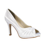 Touch Ups Womens Erika White Satin Peep/Open Toe Prom and Evening Shoes