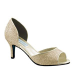 Touch Ups Womens Jolee Champagne Glitter Peep/Open Toe Prom and Evening Shoes