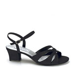 Touch Ups Womens Monaco Black Satin Sandals Prom and Evening Shoes