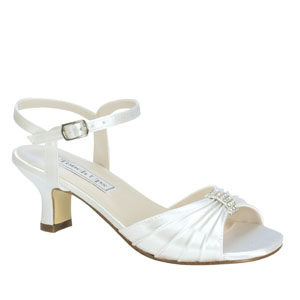 Touch Ups Girls Talia White Satin Sandals Flower Girls Shoes