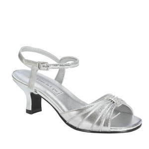 Touch Ups Girls Talia Silver Satin Sandals Flower Girls Shoes