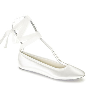 Touch Ups Womens Beth White Satin Ballet Wedding Shoes