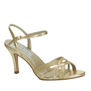 Touch Ups Womens Taryn Gold Glitter Sandals Prom and Evening Shoes