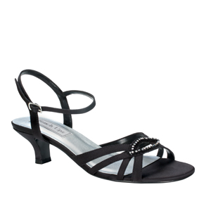 Touch Ups Womens Dakota Black Satin Sandals Prom and Evening Shoes