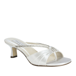 Touch Ups Womens Phoebe White Satin Slide Wedding Shoes