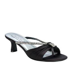 Touch Ups Womens Phoebe Black Satin Slide Wedding Shoes