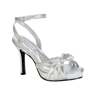 Touch Ups Womens Dolly Silver Metalllic Platforms Prom and Evening Shoes