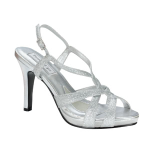 Touch Ups Womens Dina Silver Glitter Sandals Prom and Evening Shoes