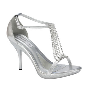 Touch Ups Womens Cherise Silver Beaded Sandals Prom and Evening Shoes