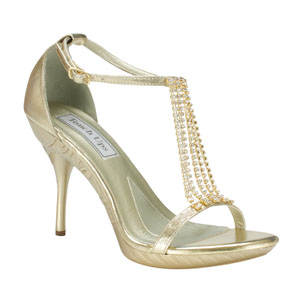 Touch Ups Womens Cherise Gold Beaded Sandals Prom and Evening Shoes