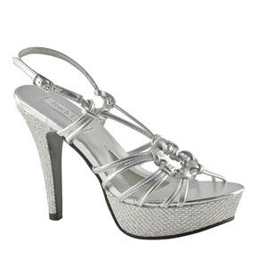 Touch Ups Womens Cassidy Silver Glitter Platforms Prom and Evening Shoes