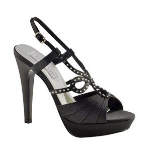 Touch Ups Womens Lonnie Black Satin Platforms Wedding Shoes