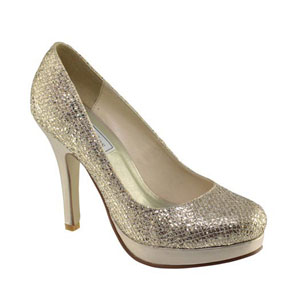 Touch Ups Womens Candice Champagne Glitter Pumps Prom and Evening Shoes